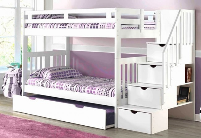 Norwood Bunk with Staircase white